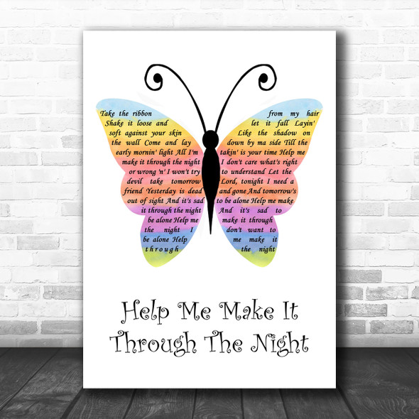 Gladys Knight Help Me Make It Through The Night Rainbow Butterfly Song Lyric Wall Art Print