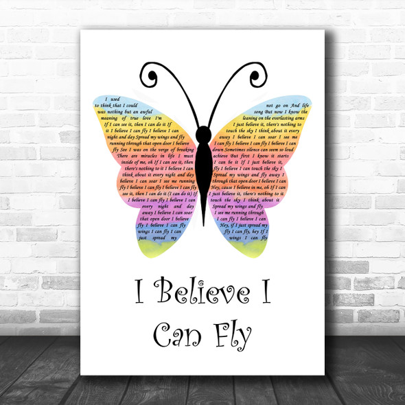 R Kelly I Believe I Can Fly Rainbow Butterfly Song Lyric Wall Art Print