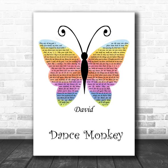 Tones And I Dance Monkey Rainbow Butterfly Song Lyric Wall Art Print