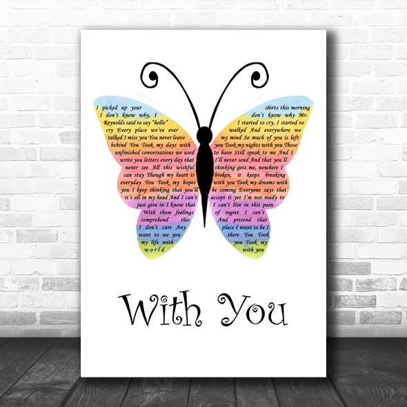 Ghost The Musical With You Rainbow Butterfly Song Lyric Wall Art Print