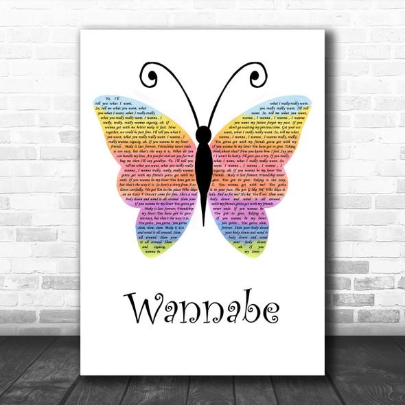 Spice Girls Wannabe Rainbow Butterfly Song Lyric Wall Art Print
