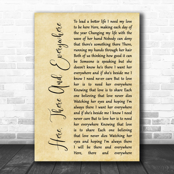 The Beatles Here, There And Everywhere Rustic Script Song Lyric Wall Art Print