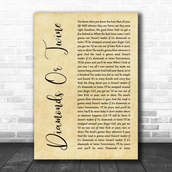 Ryan Hurd Diamonds Or Twine Rustic Script Song Lyric Wall Art Print