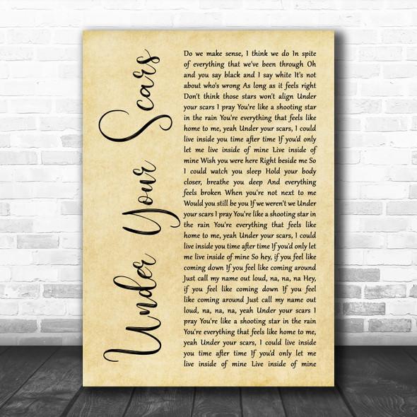 Godsmack Under Your Scars Rustic Script Song Lyric Wall Art Print