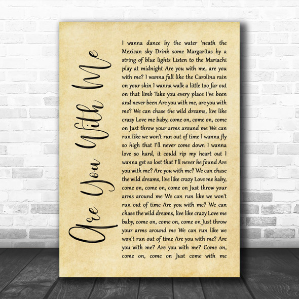 Easton Corbin Are You With Me Rustic Script Song Lyric Wall Art Print