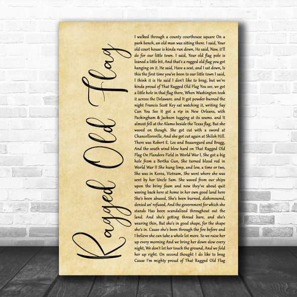 Johnny Cash Ragged Old Flag Rustic Script Song Lyric Wall Art Print