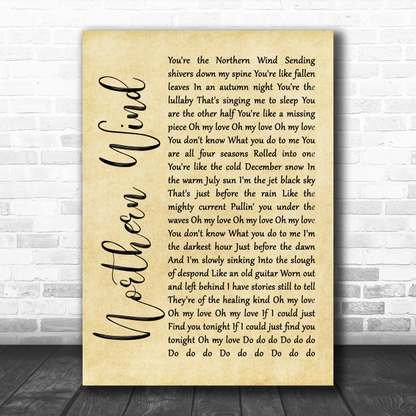 City And Colour Northern Wind Rustic Script Song Lyric Wall Art Print