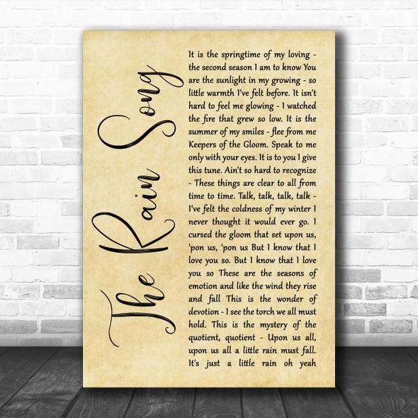 Led Zeppelin The Rain Song Rustic Script Song Lyric Wall Art Print