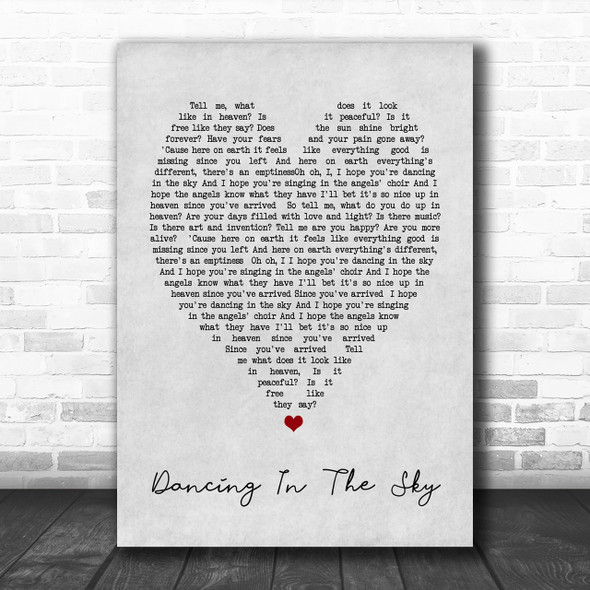 Dani And Lizzy Dancing In The Sky Grey Heart Song Lyric Music Wall Art Print
