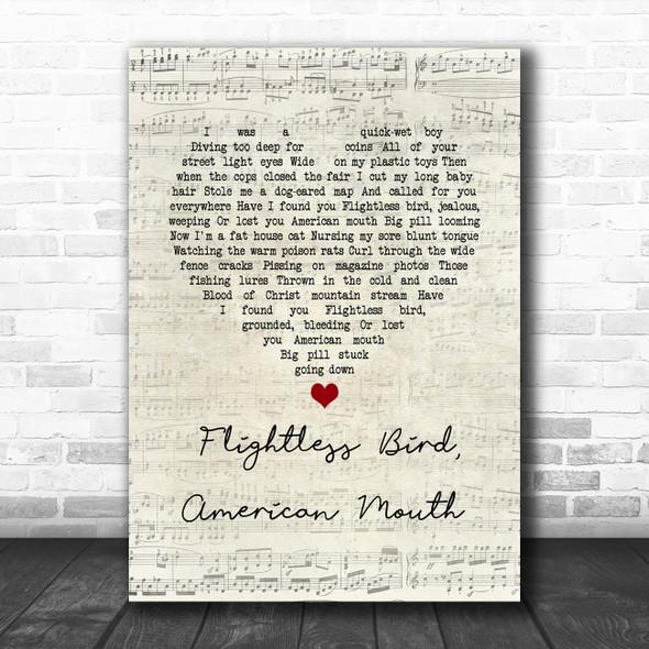 Iron & Wine Flightless Bird, American Mouth Script Heart Song Lyric Wall Art Print