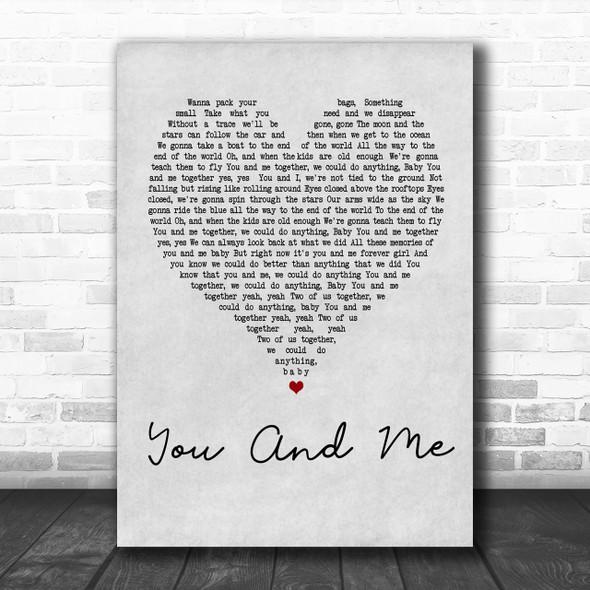 Dave Matthews Band You And Me Grey Heart Song Lyric Music Wall Art Print