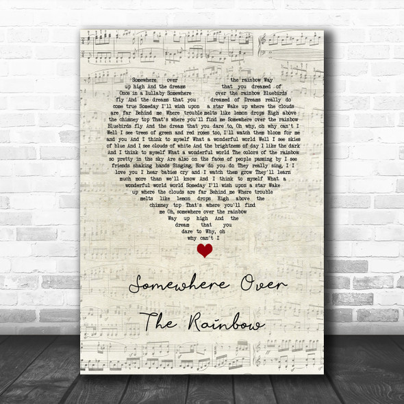 Israel Kamakawiwo'ole Somewhere Over The Rainbow Script Heart Song Lyric Wall Art Print