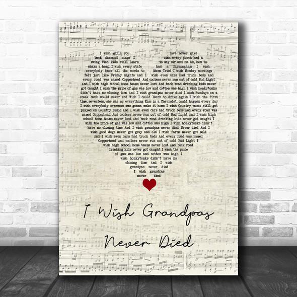 Riley Green I Wish Grandpas Never Died Script Heart Song Lyric Wall Art Print