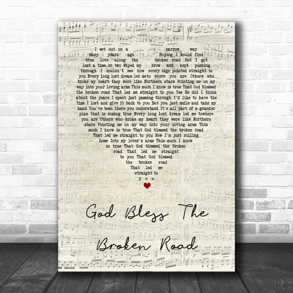 Rascal flats God Bless The Broken Road Script Heart Song Lyric Wall Art Print