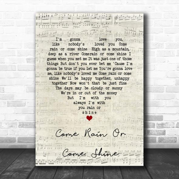 Ray Charles Come Rain Or Come Shine Script Heart Song Lyric Wall Art Print