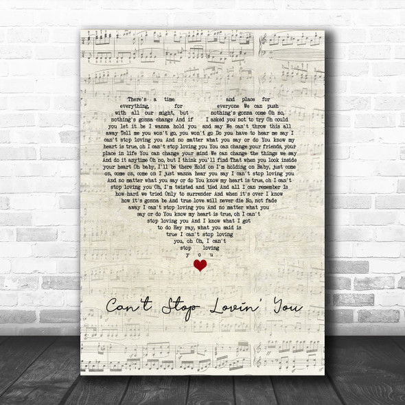 Van Halen Can't Stop Lovin' You Script Heart Song Lyric Wall Art Print