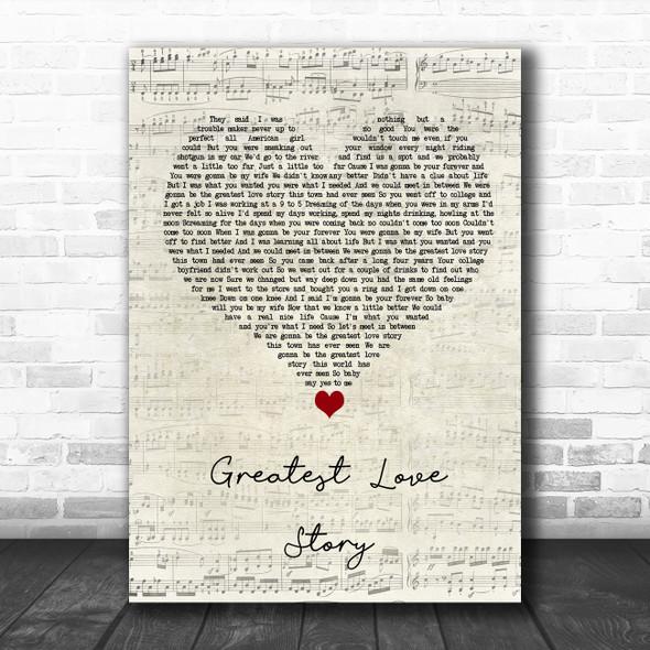 LANCO Greatest Love Story Script Heart Song Lyric Wall Art Print