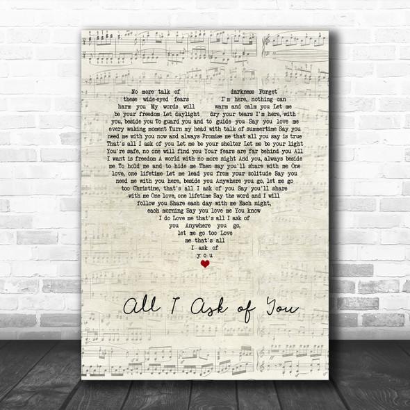Andrew Lloyd Webber All I Ask of You Script Heart Song Lyric Wall Art Print