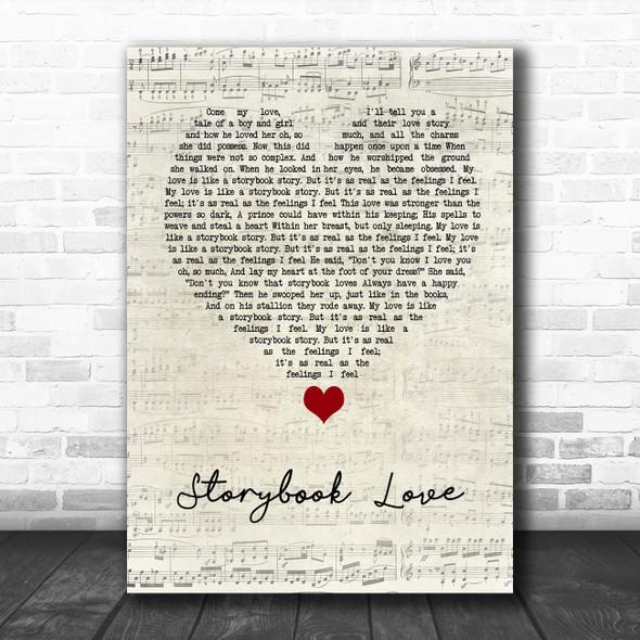Mark Knopfler & Willy DeVille Storybook Love Script Heart Song Lyric Wall Art Print