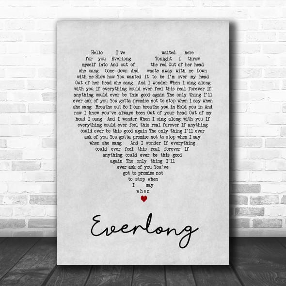 Everlong Foo Fighters Grey Heart Song Lyric Music Wall Art Print