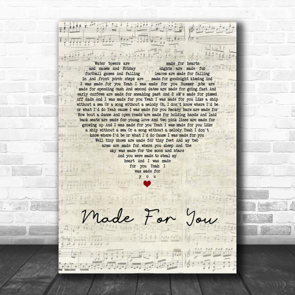 Jake Owen Made For You Script Heart Song Lyric Wall Art Print