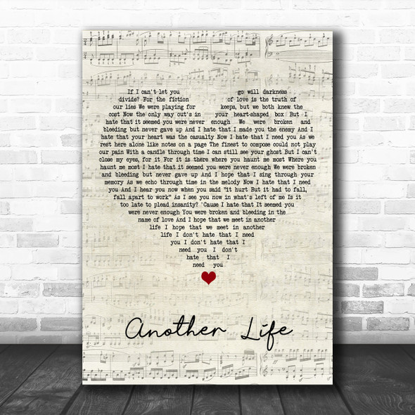 Motionless In White Another Life Script Heart Song Lyric Wall Art Print