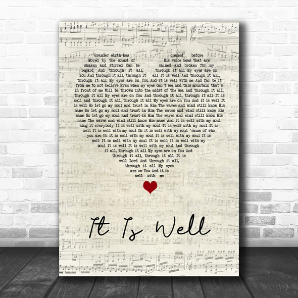 Kristene DiMarco It Is Well Script Heart Song Lyric Wall Art Print