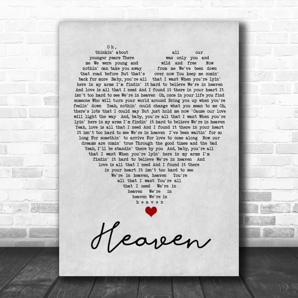 Heaven Bryan Adams Grey Heart Song Lyric Music Wall Art Print