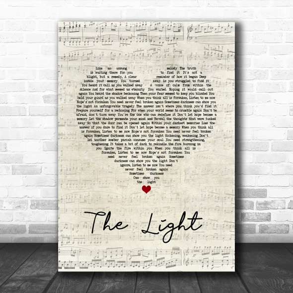 Disturbed The Light Script Heart Song Lyric Wall Art Print