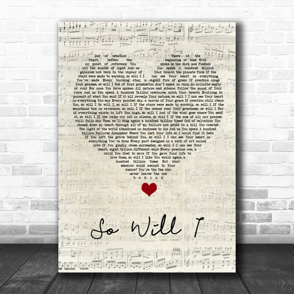 Hillsong United So Will I Script Heart Song Lyric Wall Art Print