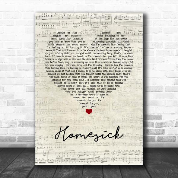 Kane Brown Homesick Script Heart Song Lyric Wall Art Print