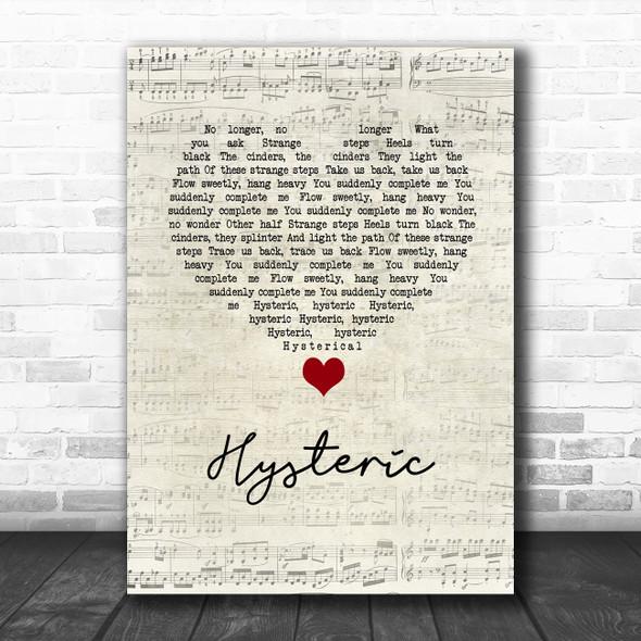 Yeah Yeah Yeahs Hysteric Script Heart Song Lyric Wall Art Print