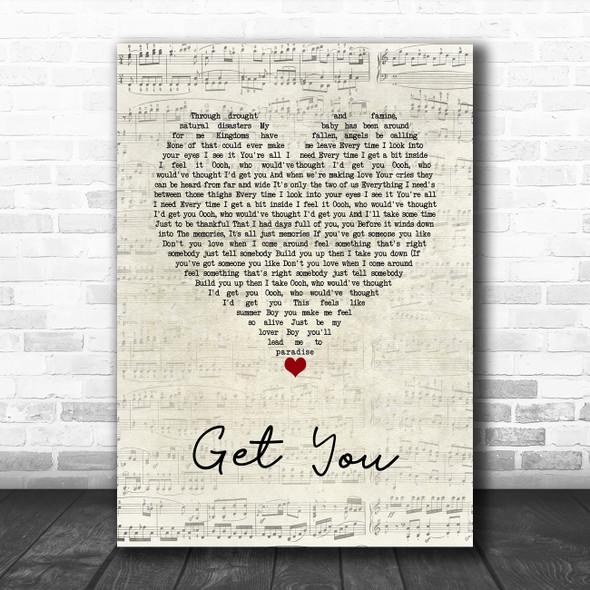 Daniel Caesar Get You Script Heart Song Lyric Wall Art Print