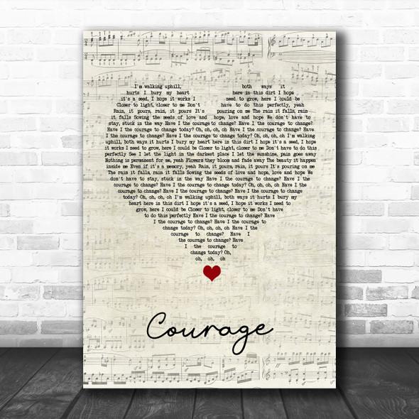 Pink Courage Script Heart Song Lyric Wall Art Print