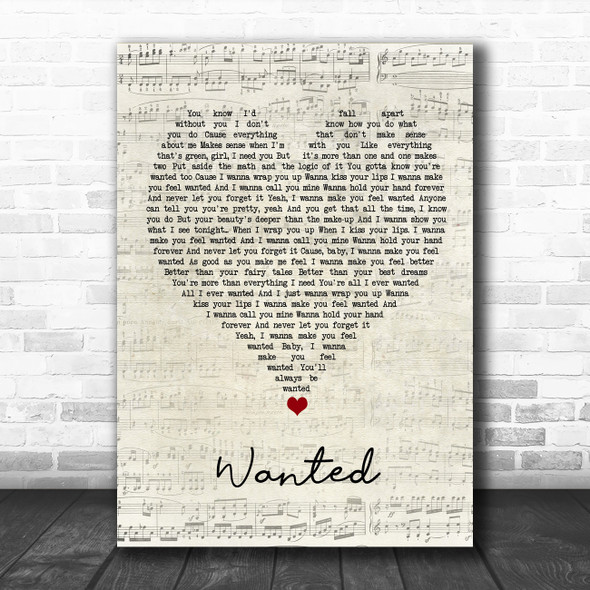 Hunter Hayes Wanted Script Heart Song Lyric Wall Art Print
