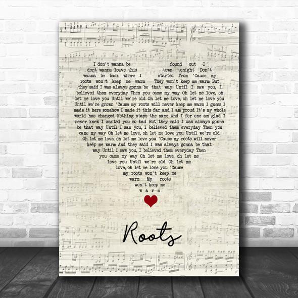 Grace Davies Roots Script Heart Song Lyric Wall Art Print