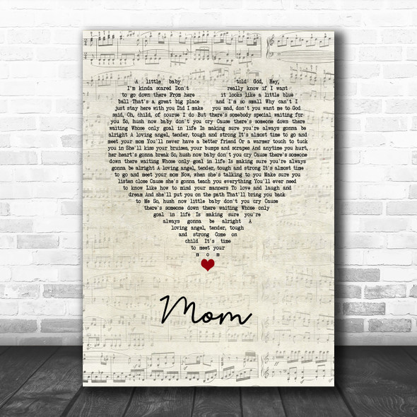 Garth Brooks Mom Script Heart Song Lyric Wall Art Print