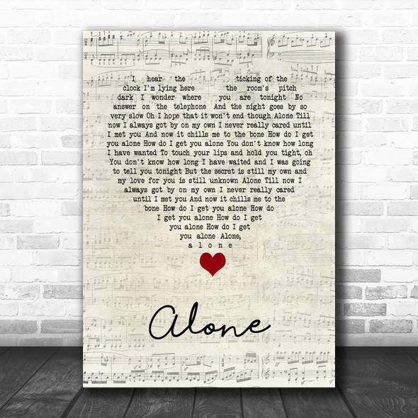 Heart Alone Script Heart Song Lyric Print