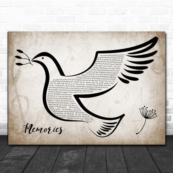 Maroon 5 Memories Vintage Dove Bird Song Lyric Wall Art Print