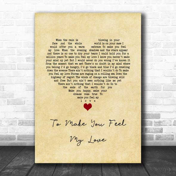 Garth Brooks To Make You Feel My Love Vintage Heart Song Lyric Wall Art Print