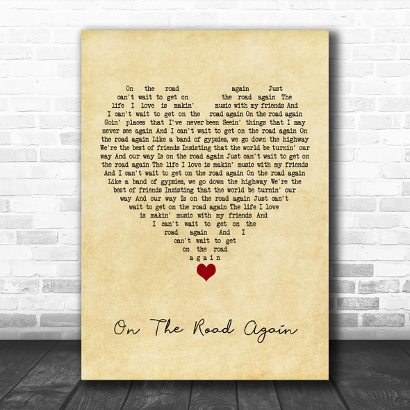 Willie Nelson On The Road Again Vintage Heart Song Lyric Wall Art Print