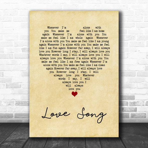 311 Love Song Vintage Heart Song Lyric Wall Art Print