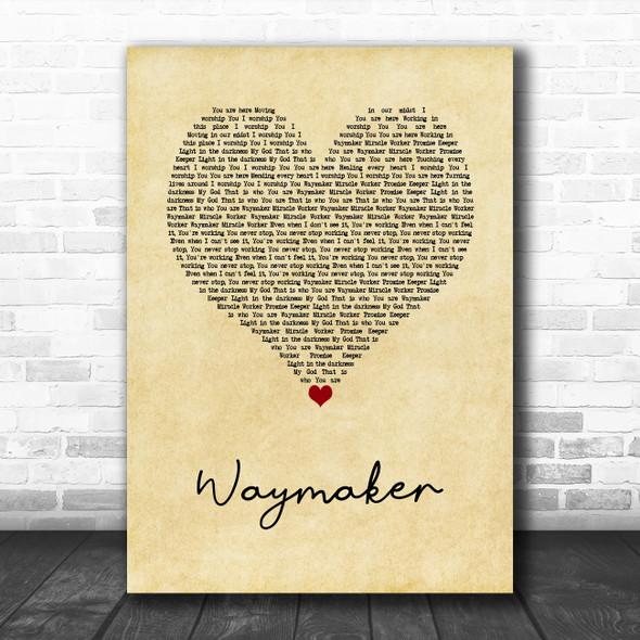 Michael W. Smith Waymaker Vintage Heart Song Lyric Wall Art Print