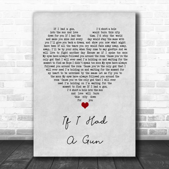 Noel Gallagher If I Had A Gun… Grey Heart Song Lyric Music Wall Art Print