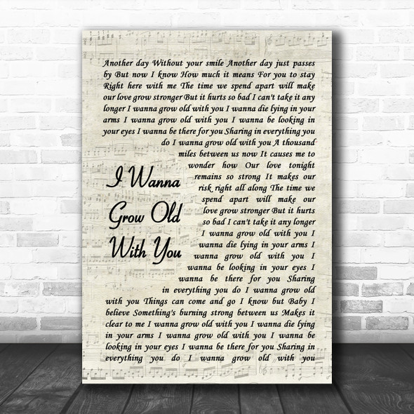 Westlife I Wanna Grow Old With You Vintage Script Song Lyric Wall Art Print