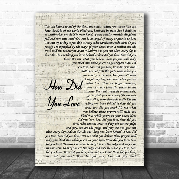 Shinedown How Did You Love Vintage Script Song Lyric Wall Art Print
