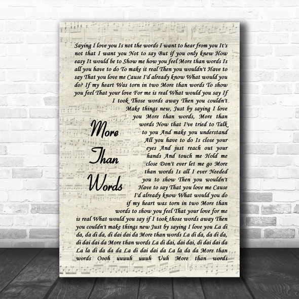 Extreme More Than Words Vintage Script Song Lyric Wall Art Print