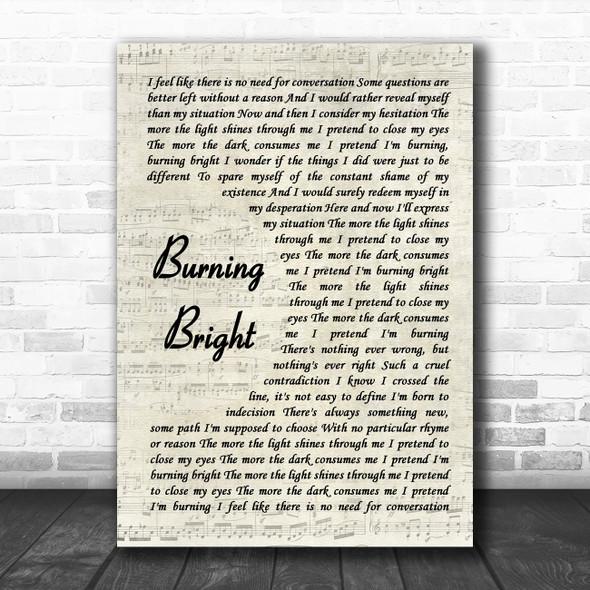Shinedown Burning Bright Vintage Script Song Lyric Wall Art Print