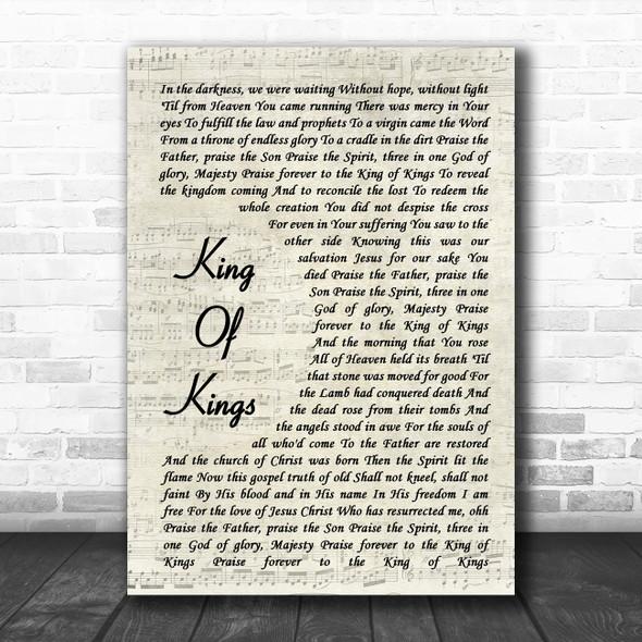 Hillsong King Of Kings Vintage Script Song Lyric Wall Art Print