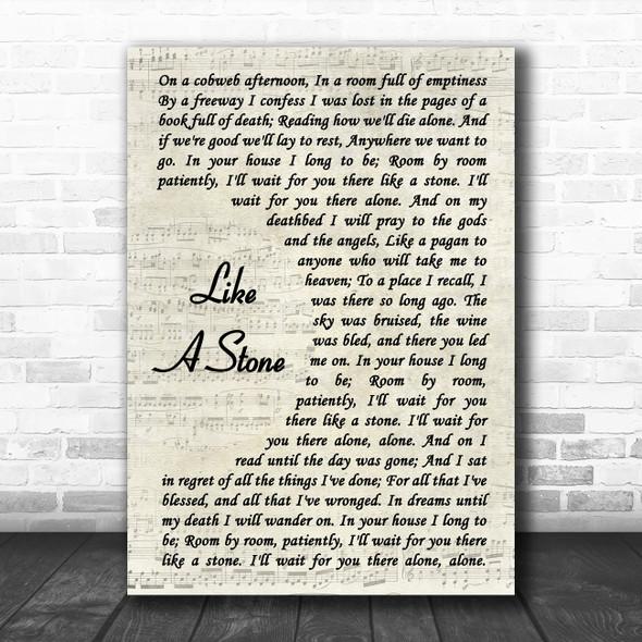Audioslave Like A Stone Vintage Script Song Lyric Wall Art Print